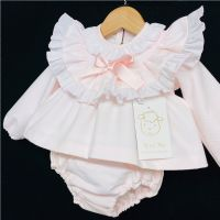 * Baby Girl Spanish Pink Waffle Frilly Set with Pants